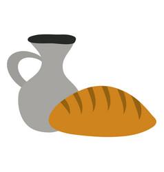 jar canteen pot with bread vector image