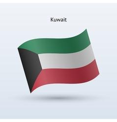 Kuwait flag waving form vector
