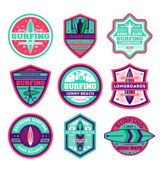 Longboard surfing club vintage isolated label set vector