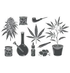 Marijuana glyph isolated icon set vector