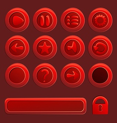 mobile red elements for ui game - a set play vector image