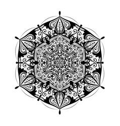 monochrome mandala doodle element in boho style vector image