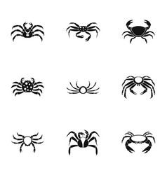 Overland crab icons set simple style vector