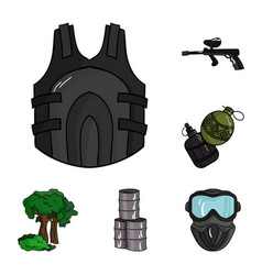 Paintball team game cartoon icons in set vector