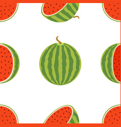 Pattern of juicy whole watermelons and slices in vector