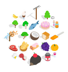 peasant farming icons set isometric style vector image