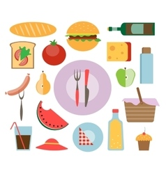 Picnic icon set vector