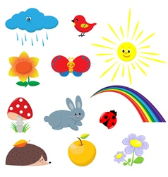 Pictures of animals and flowers vector