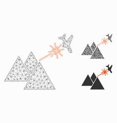 Piramides strike airplane mesh wire frame vector