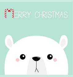 Polar white bear cub sad face merry christmas vector