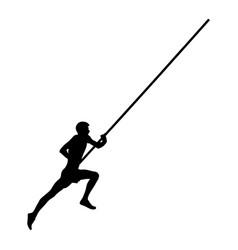 pole vault male athlete running black silhouette vector image