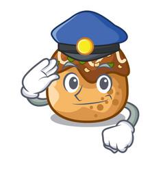 Police cartoon cooking takoyaki in baked fire vector