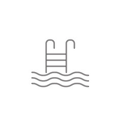 Pool with ladder line icon swimming vector