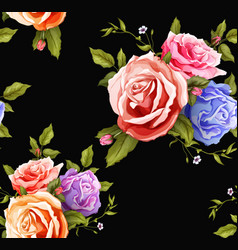Realistic rose bouquet seamless pattern vector