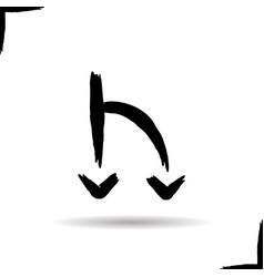 Road fork icon drop shadow symbol two arrows ink vector