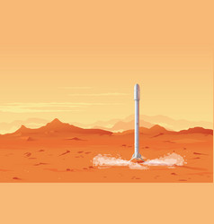rocket landed on the mars planet vector image