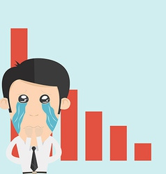 Sad business trader in recession and crisis time vector