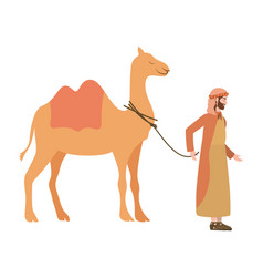 Saint joseph with camel manger characters vector