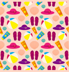 seamless pattern on the theme of summer beach vector image