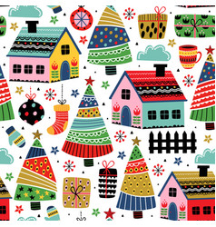 seamless pattern with decorative houses vector image