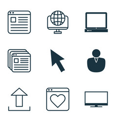 set of 9 internet icons includes followed website vector image