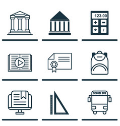 Set of 9 school icons includes e-study college vector