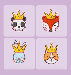 set of cute animals cartoons vector image