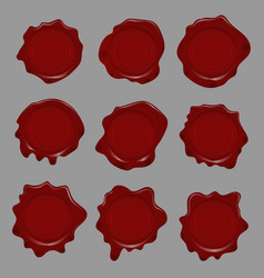 set wax seal signs design element or poster vector image