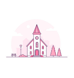 Small church - modern thin line design style vector