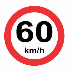 speed limit traffic sign 60 vector image