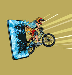 sports online news concept athlete cyclist in a vector image