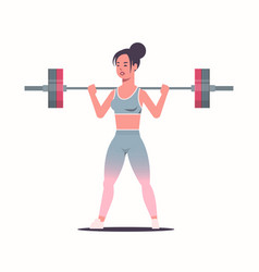 Sporty girl lifting weights doing squats with vector