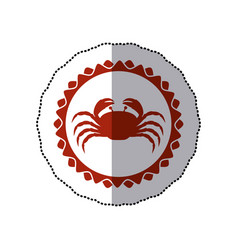 sticker red stamp border with silhouette of crab vector image