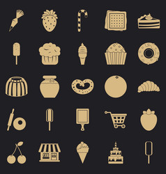 Sweet flavour icons set simple style vector