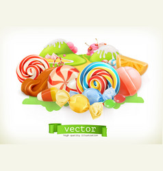 sweet shop swirl candy lollipop caramel candy vector image