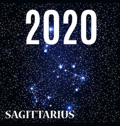symbol sagittarius sign with new year vector image
