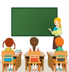 Teacher Teaching Students In Classroom vector