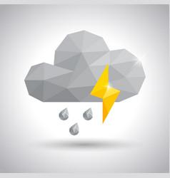 Thundercloud rain drop and lightning icon vector