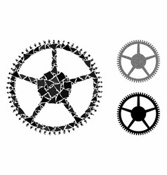 Tooth main wheel mosaic icon joggly pieces vector