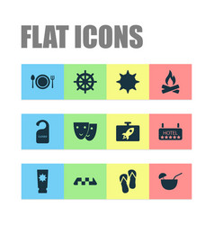 travel icons set with the sun restaurant vector image