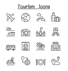 traveling transport tourism icon set in thin vector image