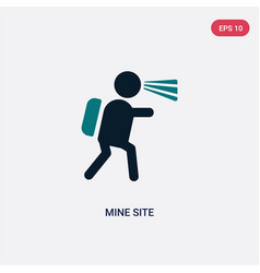 Two color mine site icon from maps and flags vector