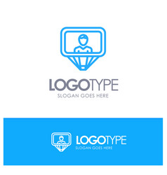 User profile id login blue outline logo with vector
