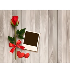 Valentines day background with photo hearts and a vector