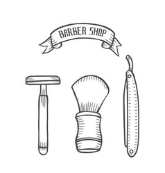 vintage style shaving accessories vector image