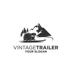 vintage trailer silhouette vector image