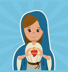 virgin mary sacred heart christian catholic symbol vector image