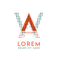 wa modern logo design with orange and green color vector image