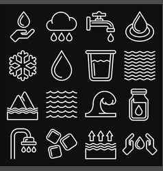 water icons set on black background line style vector image