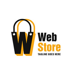 Website store logo with letter w vector